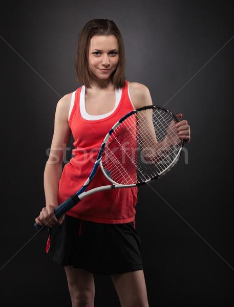 Portrait of sporty teen girl tennis player Stock photo © dashapetrenko