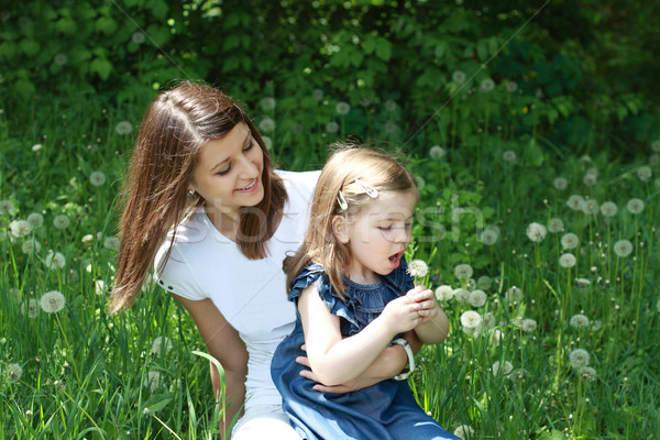 Two girls on the glade with dandelions Stock photo © dashapetrenko