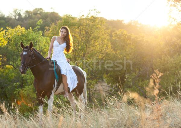 Stock fotó: Gyönyörű · nő · ló · nyár · idő · égbolt · nap