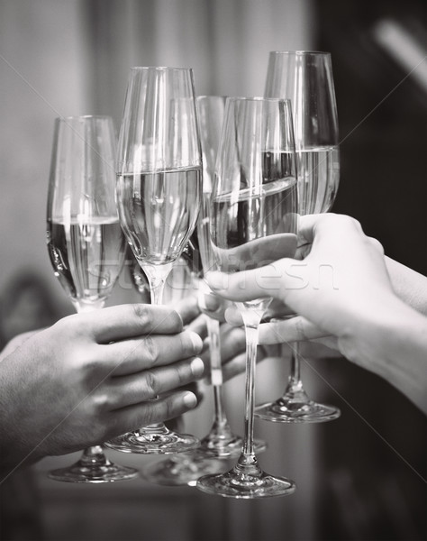 Celebration. People holding glasses of champagne making a toast. Stock photo © dashapetrenko