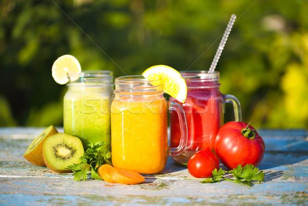 Három szemüveg zöldség gyümölcslé étel gyümölcs Stock fotó © dashapetrenko