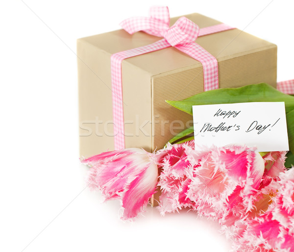 Bunch of tulips and gift box  Stock photo © dashapetrenko