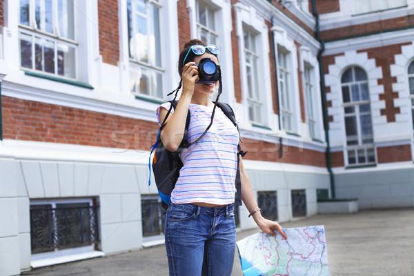 туристических женщину фото Сток-фото © dashapetrenko