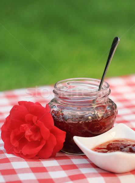 Jar of the rose jam Stock photo © dashapetrenko