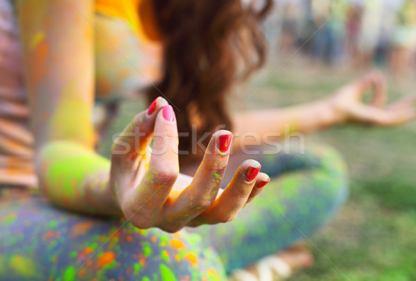 Woman training yoga and meditation at poolside Stock photo © dashapetrenko