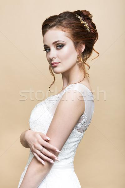 Young pretty caucasian bride in wedding dress Stock photo © dashapetrenko