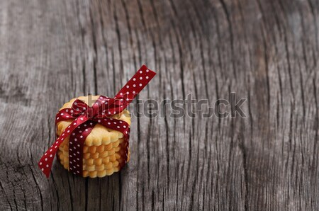 Cookies decorated with dark red polka dots ribbon  Stock photo © dashapetrenko