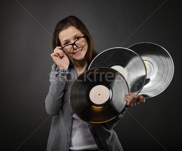 Young  teen girl with vinyl records Stock photo © dashapetrenko