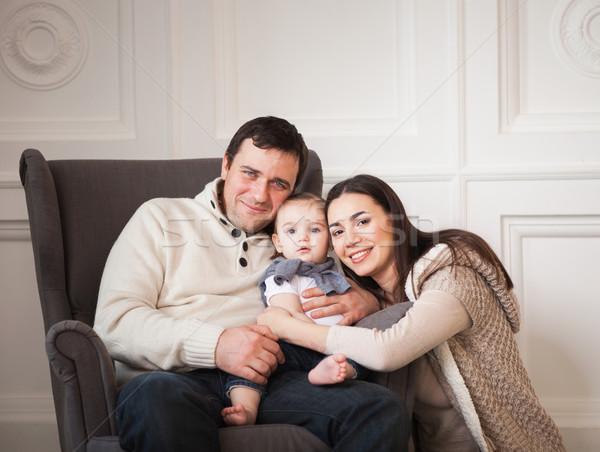 счастливым улыбаясь семьи один год Сток-фото © dashapetrenko
