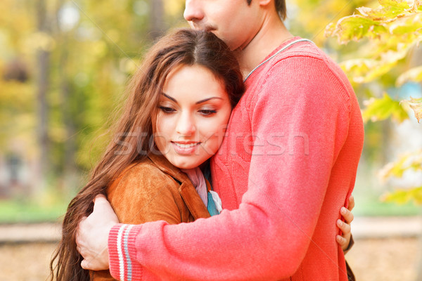 Couple enjoying golden autumn fall season Stock photo © dashapetrenko