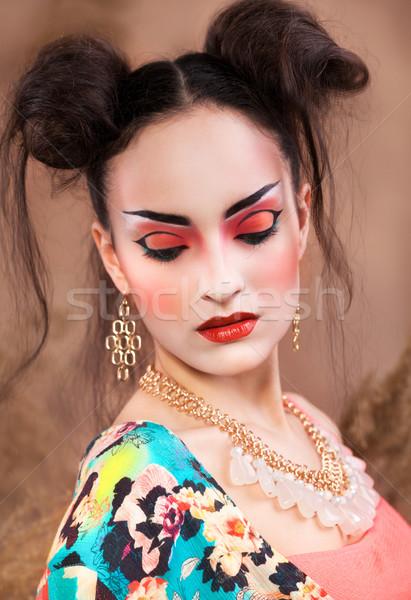 Stilizált portré japán gésa fényes smink Stock fotó © dashapetrenko