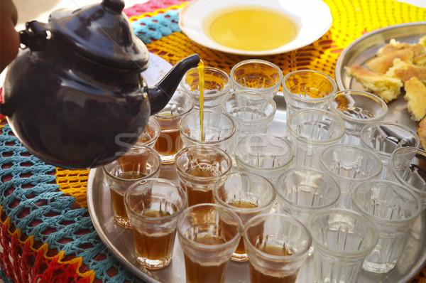 Hot tunisian tea on the tray in the cafe Stock photo © dashapetrenko