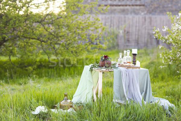 Table gâteau au chocolat décoré fleurs vert clair espace de copie Photo stock © dashapetrenko
