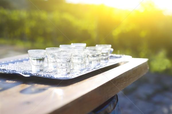 Grapes spirits glasses on metal tray Stock photo © dashapetrenko