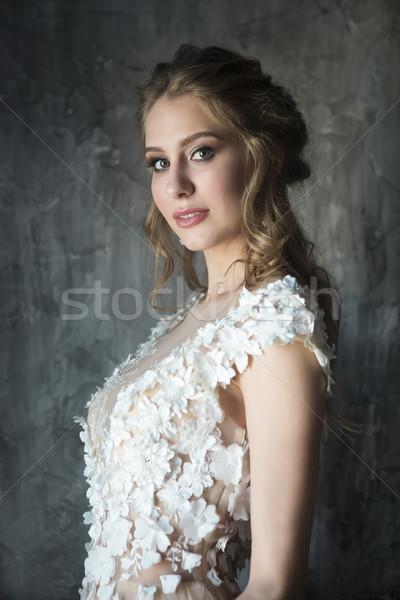 Portré gyönyörű fiatal nő sötét lány arc Stock fotó © dashapetrenko