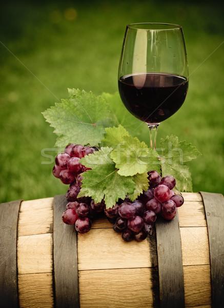 One glass of white wine and grape  Stock photo © dashapetrenko