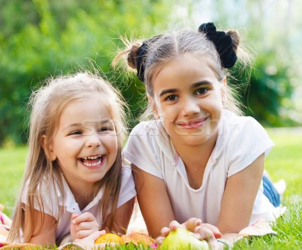 Boldog kislányok park nyár nap mosoly Stock fotó © dashapetrenko