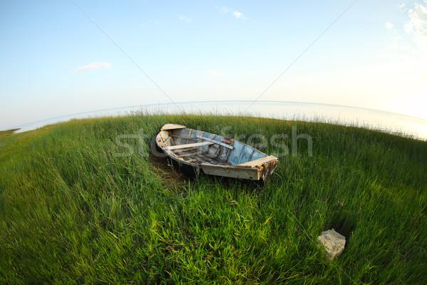 Old wooden fishing boat on the green grass  Stock photo © dashapetrenko