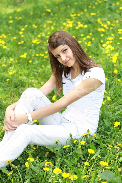 Lány tisztás pitypangok tinédzser virág tavasz Stock fotó © dashapetrenko