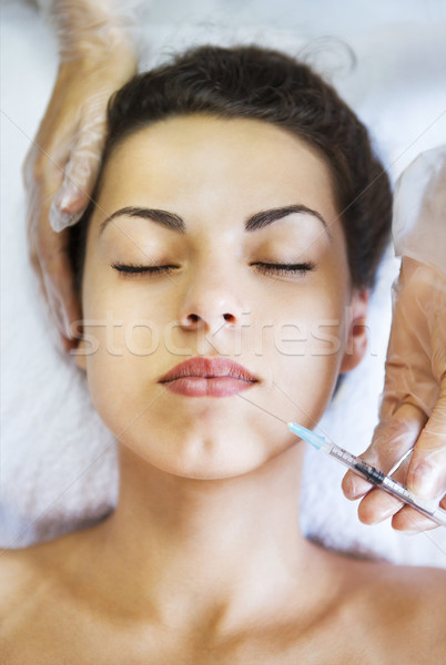 Genç güzel kadın kozmetik enjeksiyon yüz gibi Stok fotoğraf © dashapetrenko