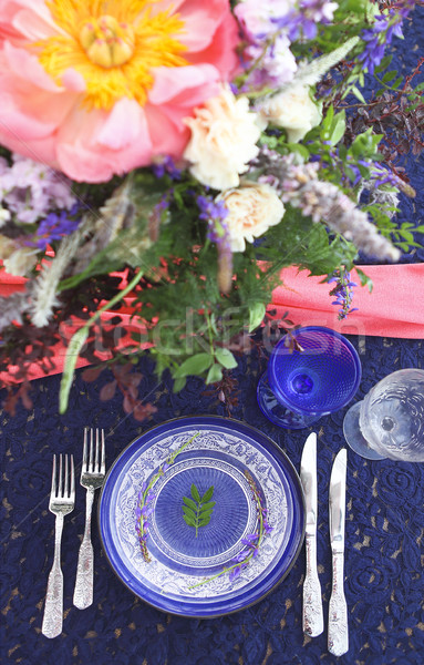 Table setting in vintage style is decorated with flowers Stock photo © dashapetrenko
