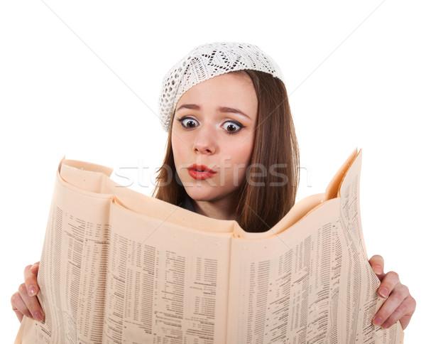 Fiatal aranyos barna hajú lány újság párizsi Stock fotó © dashapetrenko
