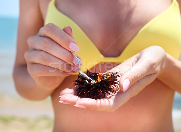 Woman holding a sea urchin for eating it on the beach Stock photo © dashapetrenko