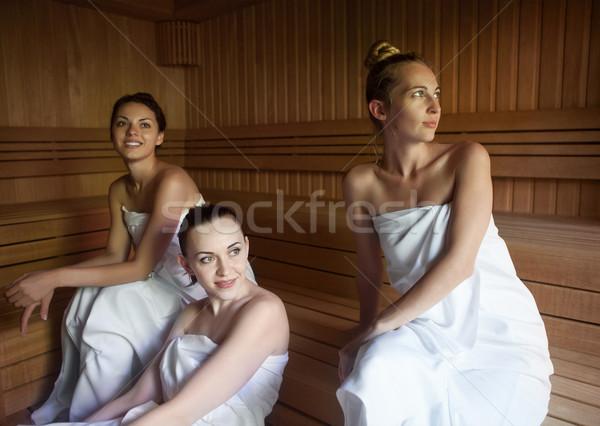 Três mulheres quente sauna jovem Foto stock © dashapetrenko