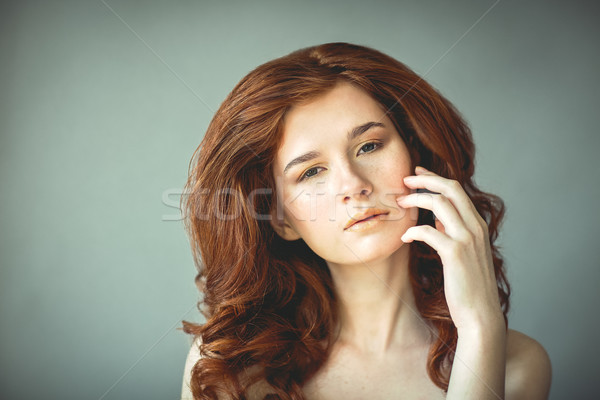 Foto stock: Belo · jovem · mulher · sardas · retrato