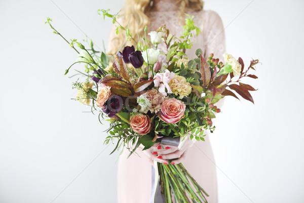 Insólito boda elegante ramo manos novia Foto stock © dashapetrenko