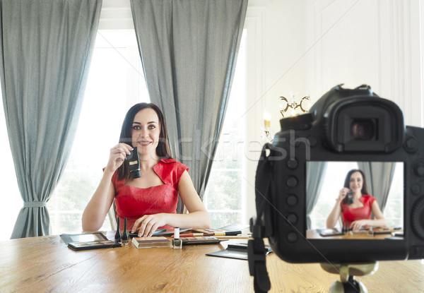 Belleza moda blogger vídeo guapo negocios Foto stock © dashapetrenko