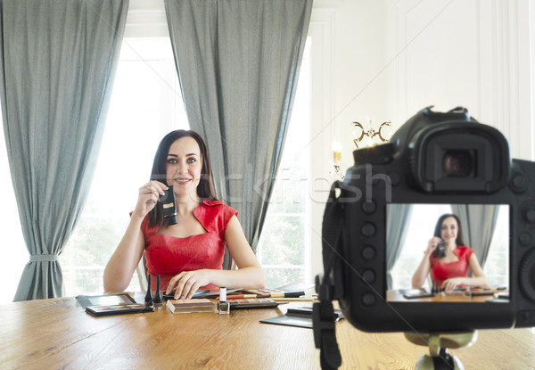 Beauty fashion blogger recording video  Stock photo © dashapetrenko