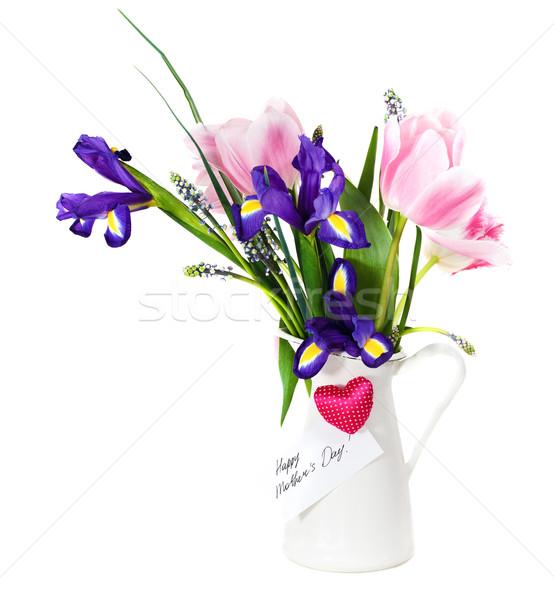 Ramo rosa tulipanes violeta iris olla Foto stock © dashapetrenko