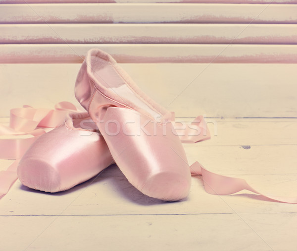 Pair of a pale pink ballet point shoes  Stock photo © dashapetrenko
