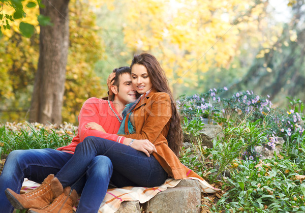 Couple enjoying golden autumn fall season Stock photo © dashapetrenko