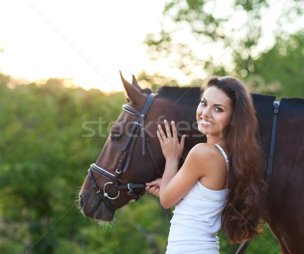 Portre güzel bir kadın uzun saçlı sonraki at güzel Stok fotoğraf © dashapetrenko