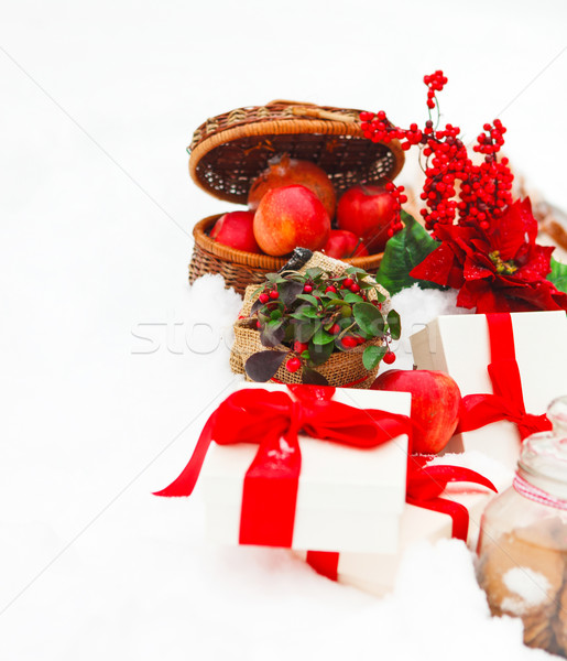 Christmas still life with a Christmas decorations, cookies and p Stock photo © dashapetrenko