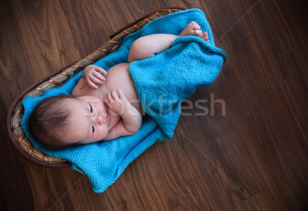 Baby boy laying on blue blanket in the basket  Stock photo © dashapetrenko