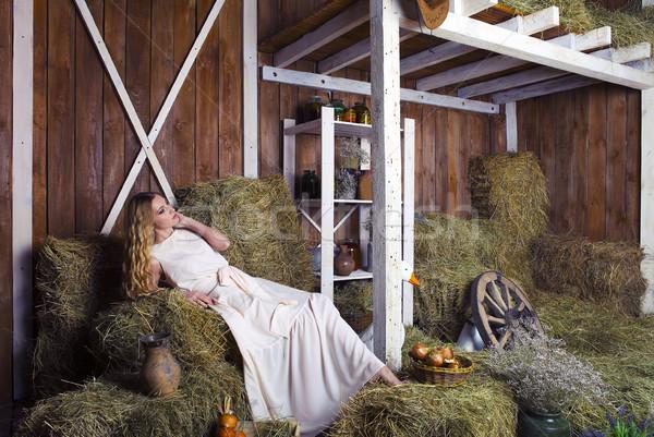 Güzel sarışın moda kadın saman ahır Stok fotoğraf © dashapetrenko
