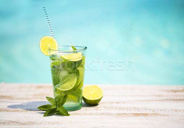 Stock fotó: Koktél · szemüveg · medence · tengerpart · oldal · mojito
