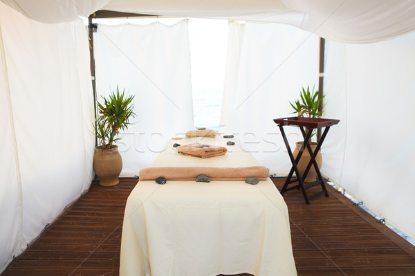 Stock photo: Massage table in the spa on the beach