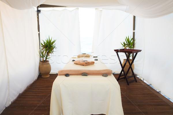 Massage table in the spa on the beach Stock photo © dashapetrenko