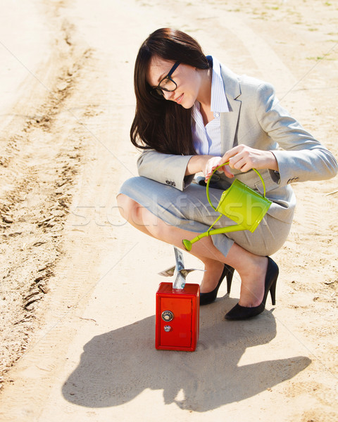 Businesswoman watering a money in safe  Stock photo © dashapetrenko