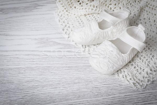 Beyaz bebek bot battaniye çiçek Stok fotoğraf © dashapetrenko