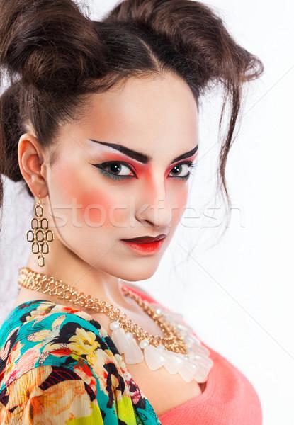 Estilizado retrato japonês gueixa brilhante compensar Foto stock © dashapetrenko