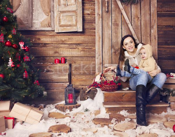 Elegante criança natal quarto árvore de natal Foto stock © dashapetrenko
