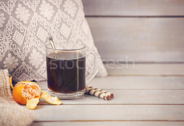 ブラックコーヒー タンジェリン 光 木製 コーヒー 背景 ストックフォト © dashapetrenko