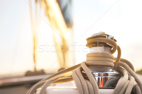 Stock photo: Sailboat detailed parts. Yachting concept