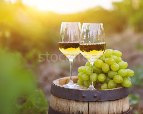Witte druiven twee bril witte wijn wijngaard Stockfoto © dashapetrenko