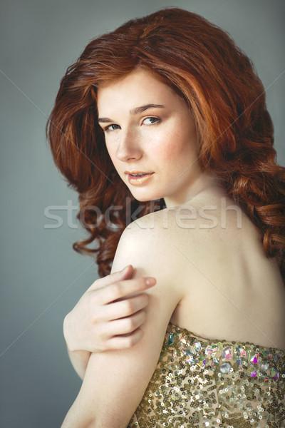 Gyönyörű fiatal vörös hajú nő nő szeplők portré Stock fotó © dashapetrenko